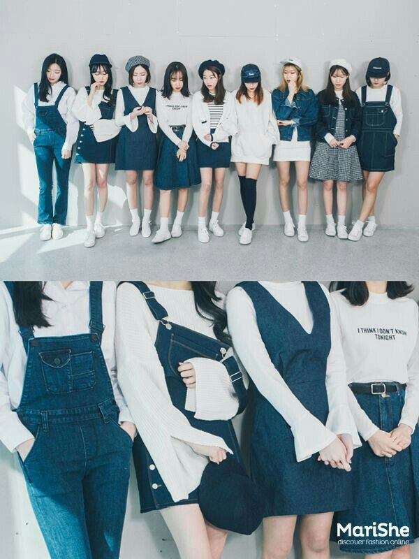 korean fashion similar twin look navy blue white shoes skirt shirt dress