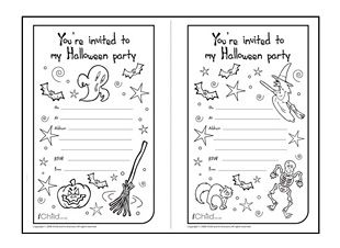 print and cut out these halloween party invitations ready for your child to colour in - Halloween Activities To Print