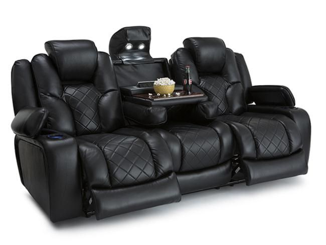 Seatcraft Prestige Black Home Theater Seats   Row Of 3 Sofa Drop Down Table    Power Recline Media Sofa