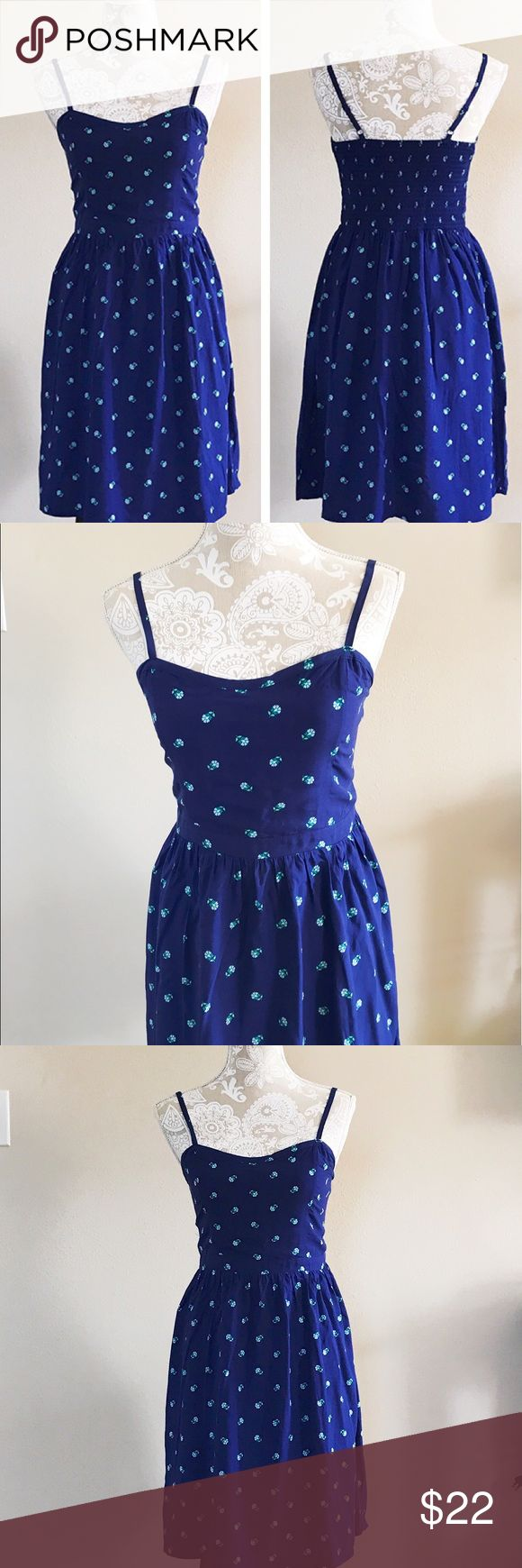 """Old navy sundress New with tag. 100% rayon. Has elastic stretchy back. Dark blue color. Length 36"""". No trades  Old Navy Dresses Midi"""