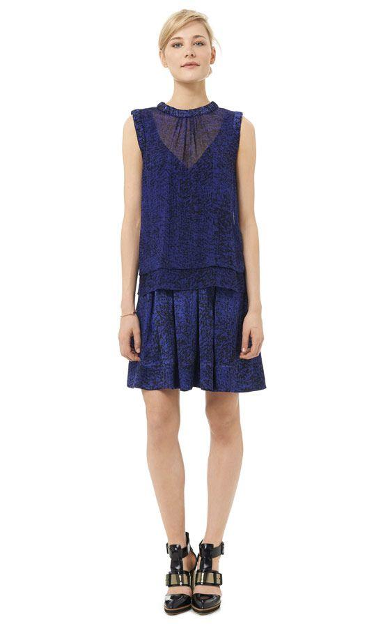 Rebecca Taylor white noise double layer dress - Sapphire