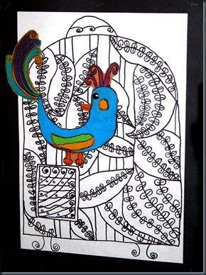 love the bright bird over the black line drawing  - repetition