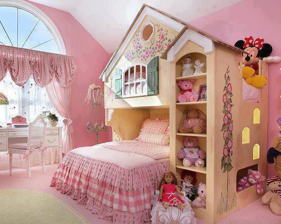 love the fact you can peek through top bunk window #bedroom #kids #children #bunkbed #pink