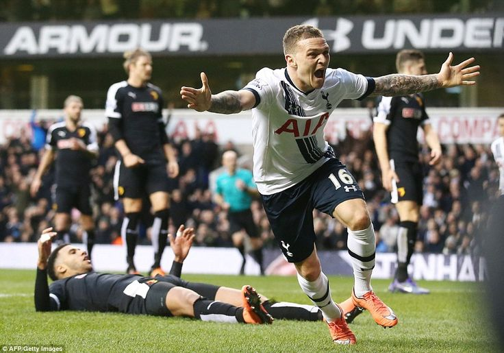 Kieran Trippier leads the celebrations after giving Tottenham the lead in the second half with his first goal for the club
