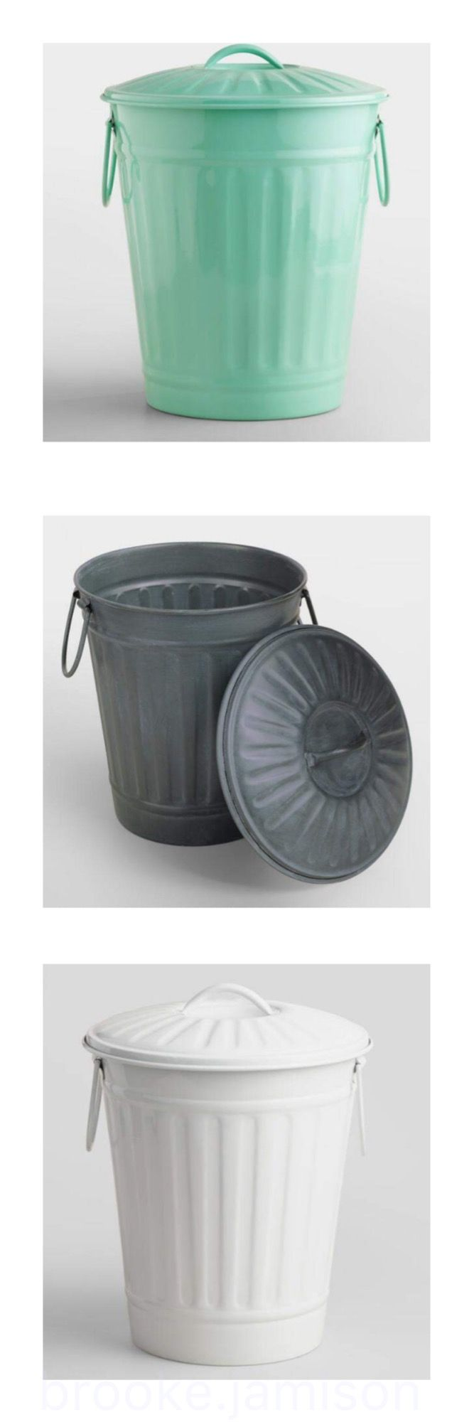 Retro, rustic and farmhouse feel. Small galvanized trash can has handles and a lid! #trashcan #recycle #rustic #farmhouse #retro #ad