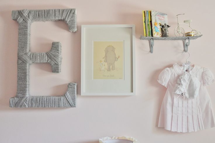 Our favorite kind of nursery gallery wall: sentimental + fun art + texture. Adorable! #gallerywall #nursery: Yarns Wraps Letters, Yarns Letters, Covers Letters, Projects Nurseries, Girls Nurseries, Cottages Nurseries, Yarns Covers, Twine Letters, Nurseries Galleries