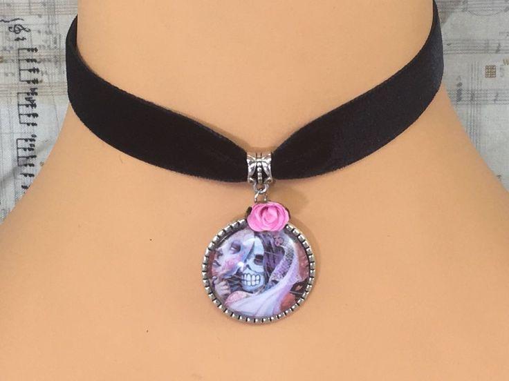 Rarelove Retro Gothic Blace Velvet 20mm Choker Necklace with Red Rose Flower Charm dDjb5tTb0F