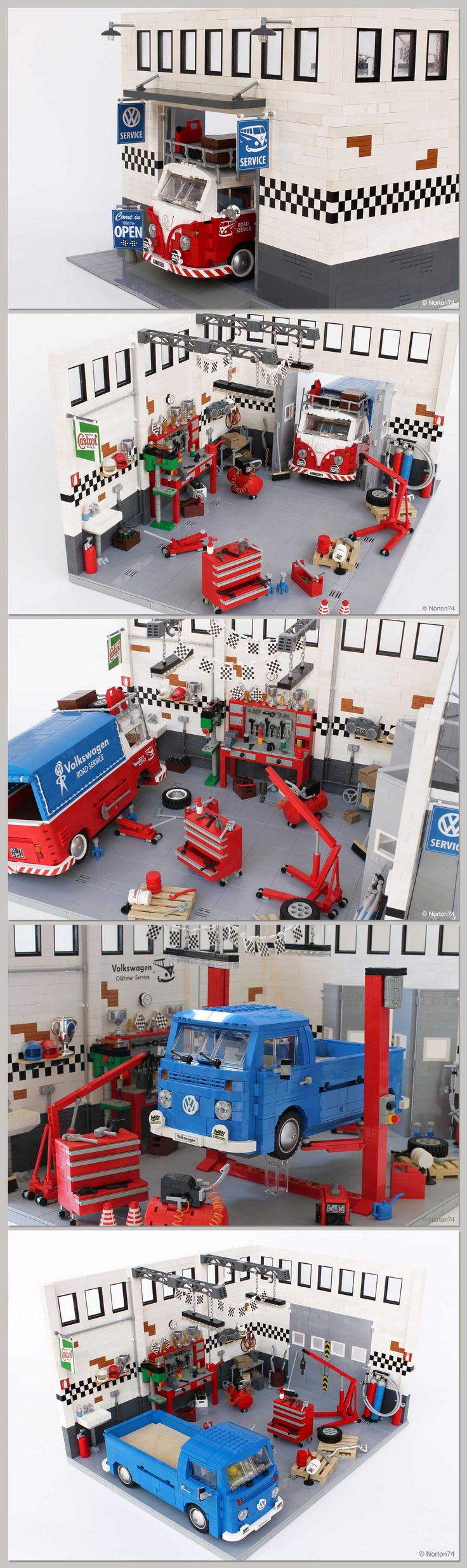 custom lego garage, this guy is my hero.... VW Bus love ♠ re-pinned by http://www.wfpblogs.com/category/toms-blog/