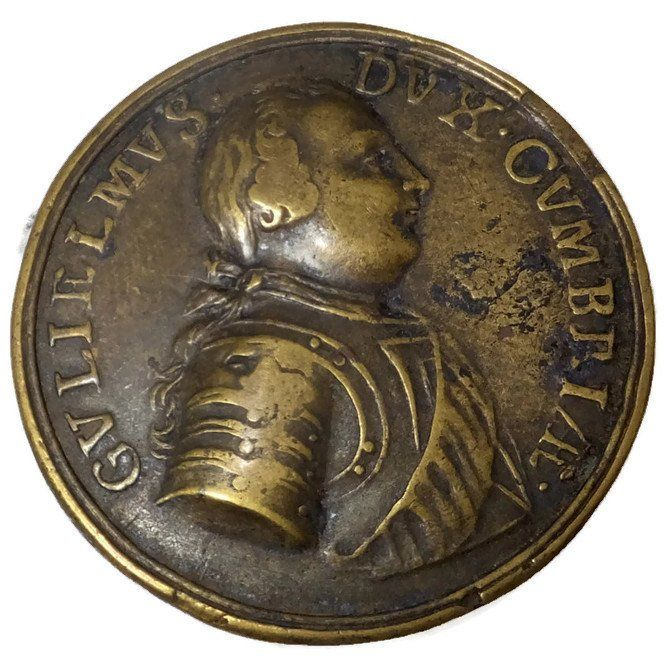 Antique 1746 British Battle of Culodeen Bronze Gilt Commemorative Medal - William Duke of Cumberland Jacobite Rebellion