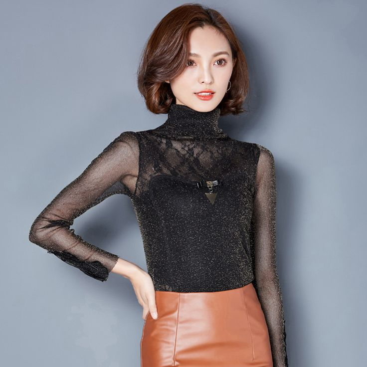hot sale new arrival Spring and autumn Korean 2016 women high collar shirt  slim lace casual female blouse plus size 166A 30 #Affiliate
