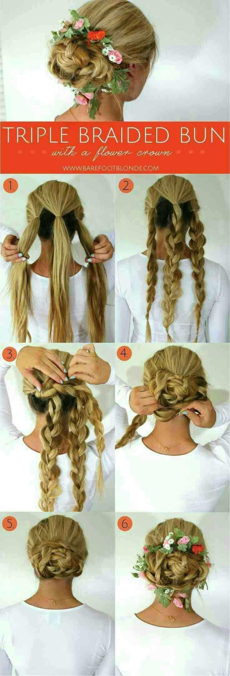 Three braided bun #Beauty #Trusper #Tip