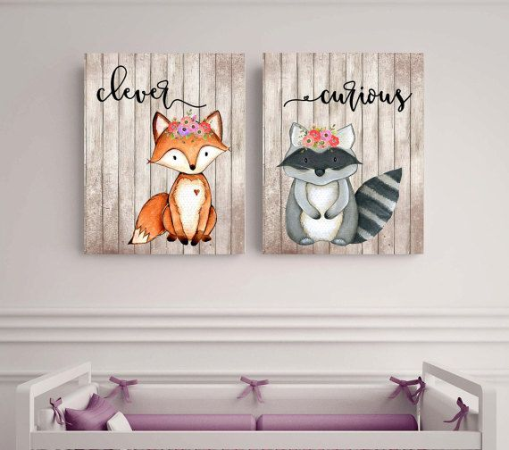 Woodland animals set Fox picture Woodland theme decor by EllowDee