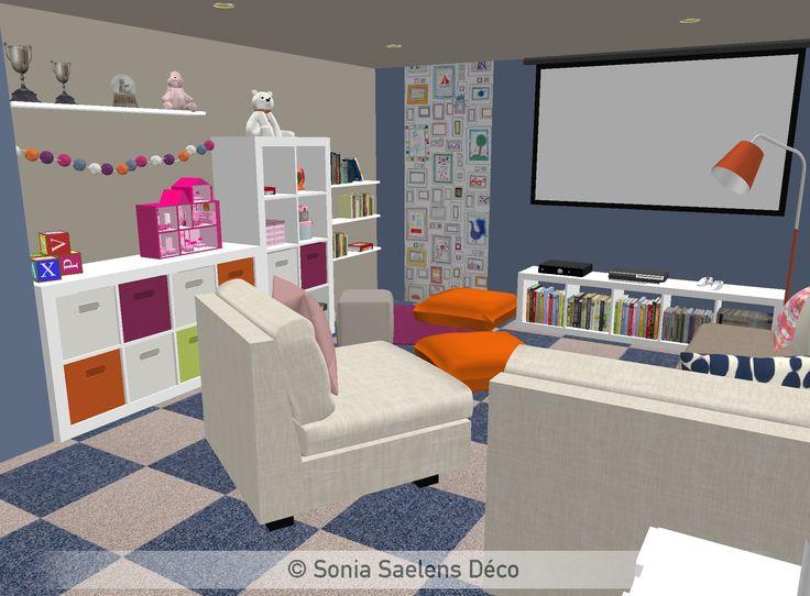 Un sous-sol aménagé en salle de jeux - Projection 3D