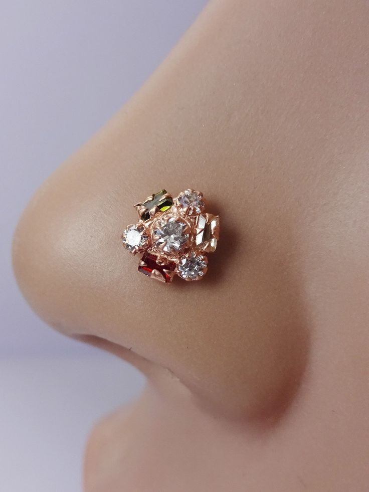 Indian Nose Ring,Indian Nose Hoop,Medusa Piercing ,Nose Stud,Rose Gold Stud,Indian Nose Stud,Nose Jewelry,Cartilage,Nose piercing,Nose Ring. by TheEthnicJewels on Etsy