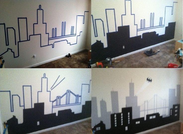 Superhero city wall decals