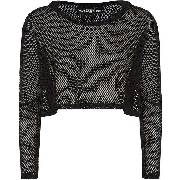 This Is A Love Song Manta Mesh Cropped Hoody (£95) ❤ liked on Polyvore featuring tops, crop top, shirts, sweaters, mesh shirt, mesh top, beach tops and summer shirts