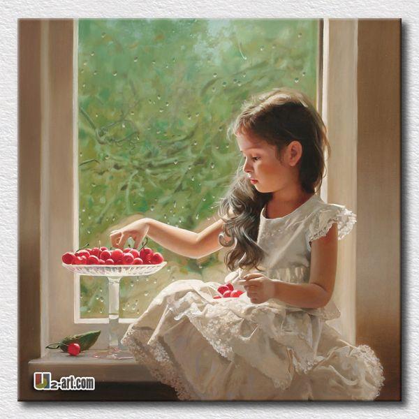 Рисунок пейзаж картина маслом холст рисунок отпечатков красивая маленькая девочка картина стены искусства для гостиной украшения / 24 '' X 24 ''