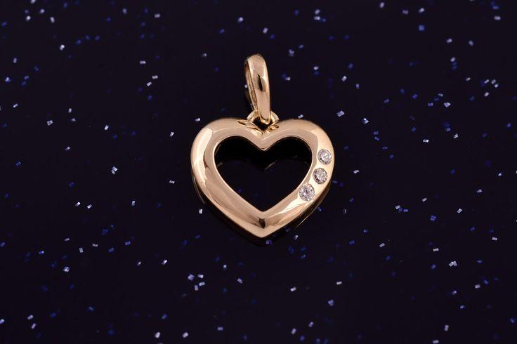 Zlatý přívěsek srdce se zirkony P051 0,80g