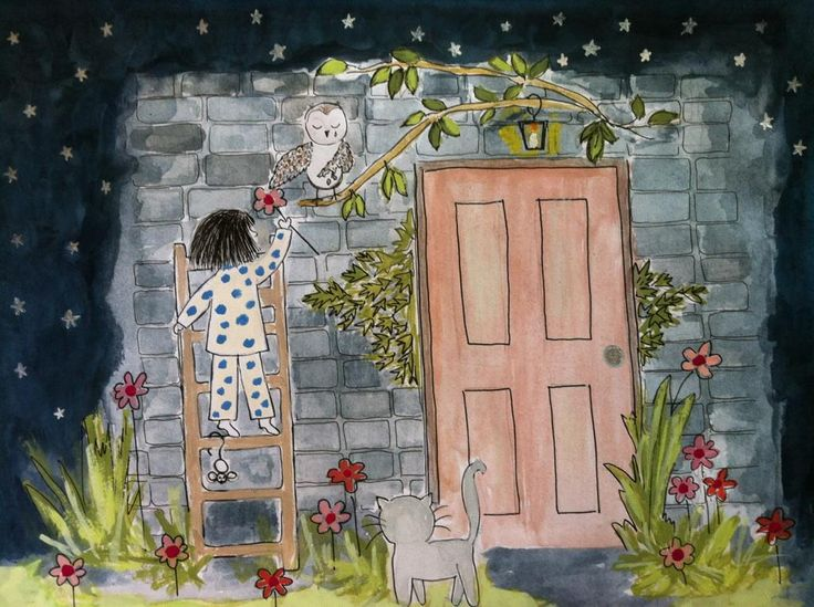 """""""The Owl Outside my Door'... illustrations Judith Mary Davidson lullaby children book"""