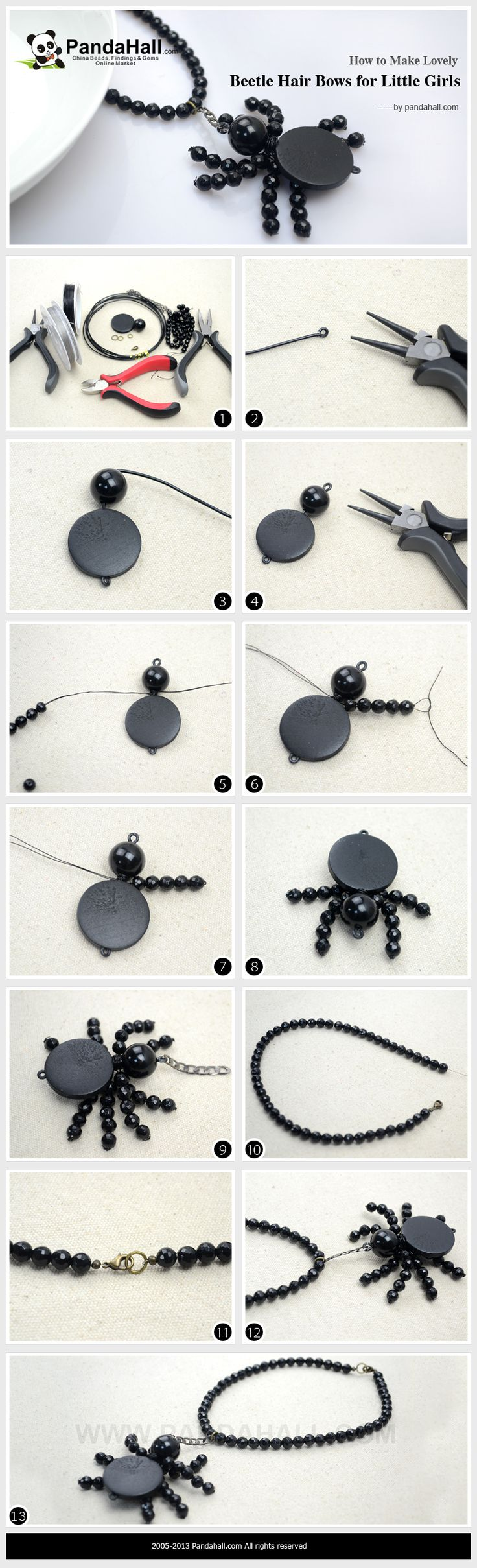 How to Make Halloween Spider Necklace - Simple Beaded Spider Necklace DIY