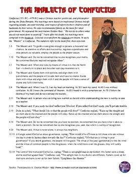 Confucius Analects Primary Source Analysis Activity On Ancient China