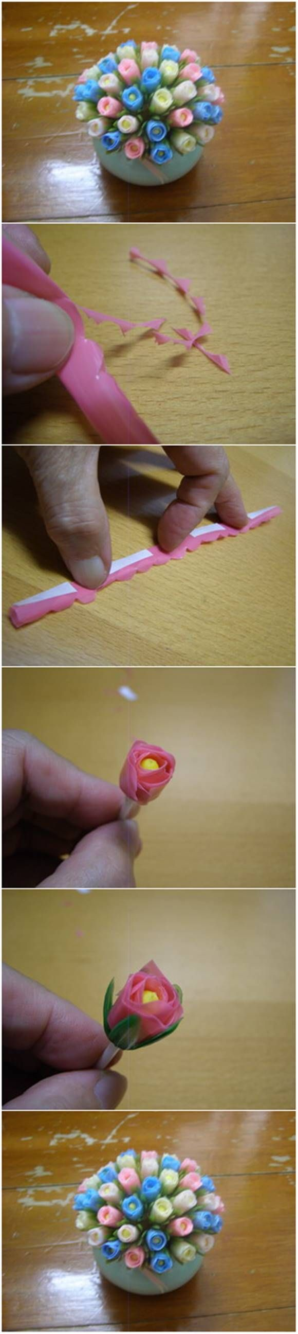 How to Make Beautiful Tulips from Drinking Straws #craft #flower #decor
