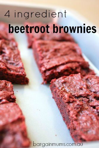 These easy 4 INGREDIENT BEETROOT BROWNIES are a healthy version of the traditional chocolate brownie.  They make a great budget friendly dessert that kids will love http://bargainmums.com.au/4-ingredient-beetroot-brownies #beetroot #brownies #4ingredient