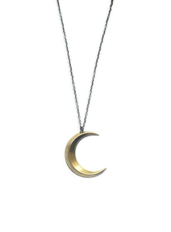 Crescent Moon Necklace Large Half Moon Necklace by BlackCrystals