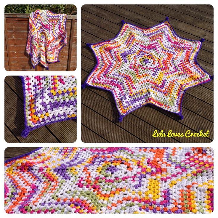 Lulu Loves Crochet: The Granny Star Blanket - Free crochet pattern. Make to any size.