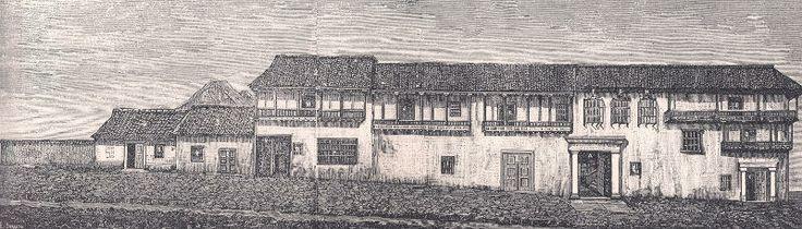Santa Fe de Bogotá, antigua acera occidental de la Plaza de Bolívar, Papel Periódico Ilustrado, 1881-1887.