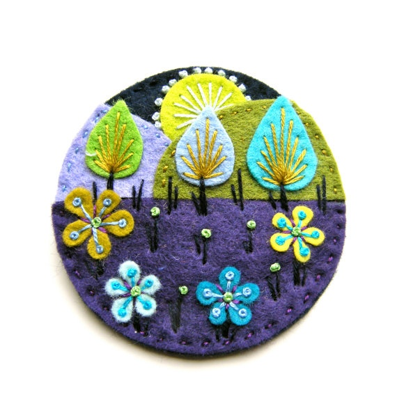 Treescape felt brooch with freeform embroidery by designedbyjane, £15.00