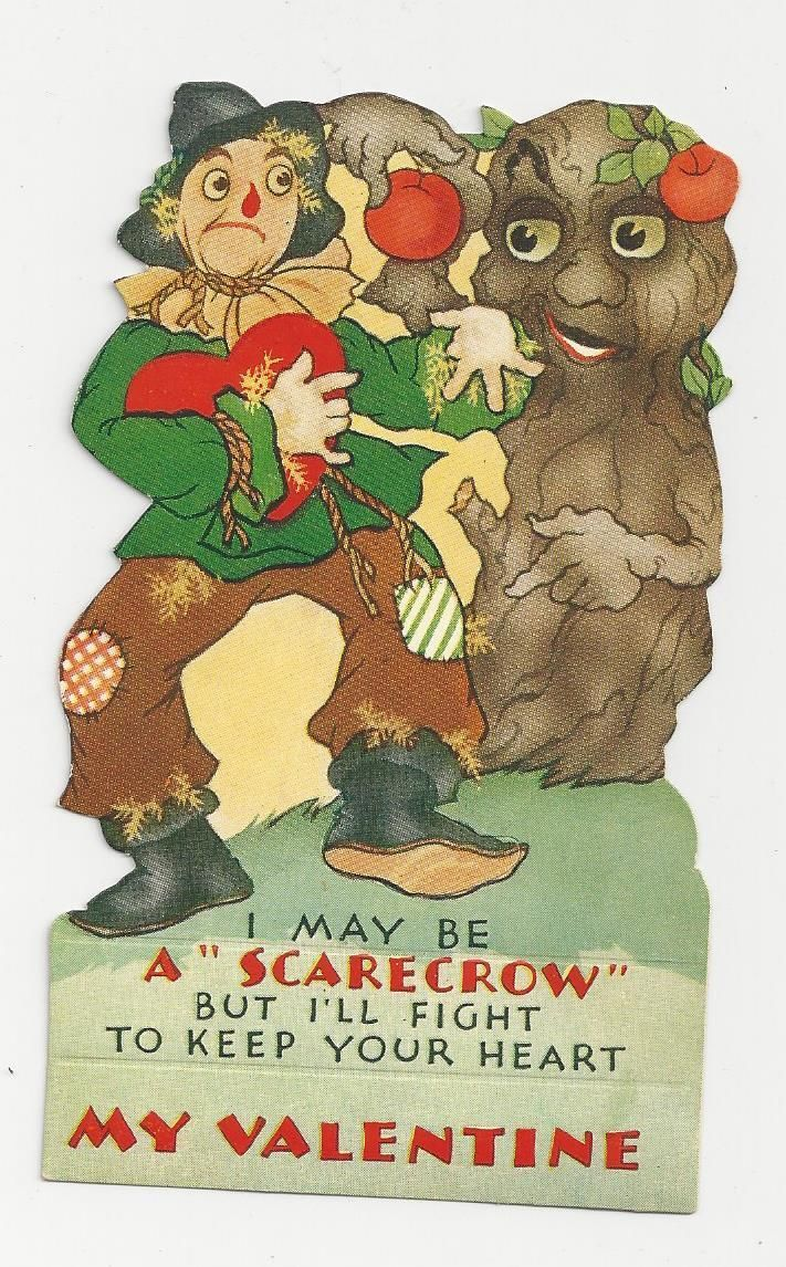 Wizard of oz christmas decorations uk - Vintage Scarecrow Wizard Of Oz Valentine 039 S Day Card Ebay