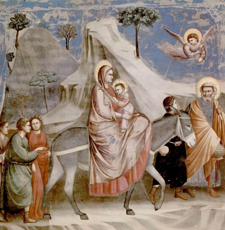 Escena de La Huída a Egipto, de Giotto, en la Capilla Scrovegni de Pauda