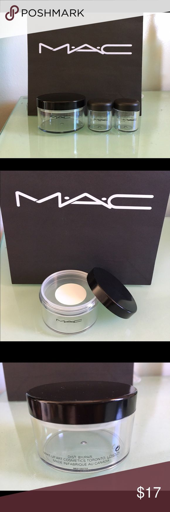 MAC Cosmetics Makeup Containers Authentic MAC Cosmetics plastic makeup containers. Large Loose powder container has plastic sifter (see picture which has round white tape over sifter area), Made in Canada. Other 2 containers has plastic cover (see picture) to keep contents contained; good to hold pigments, Made in USA. MAC Cosmetics Makeup Brushes & Tools
