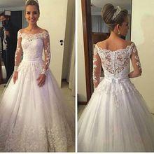 Vestidos De Noiva de Renda vestidos de Casamento 2016 Vestidos Boat Neck Manga Comprida Botão Trem Da Varredura Apliques Fitas vestido de Baile Vestido de Noiva alishoppbrasil