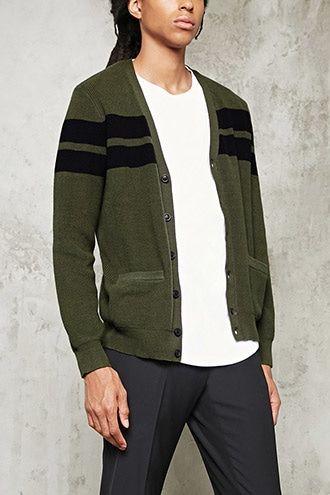 Varsity-Stripe Cardigan | 21 MEN - 2000216647
