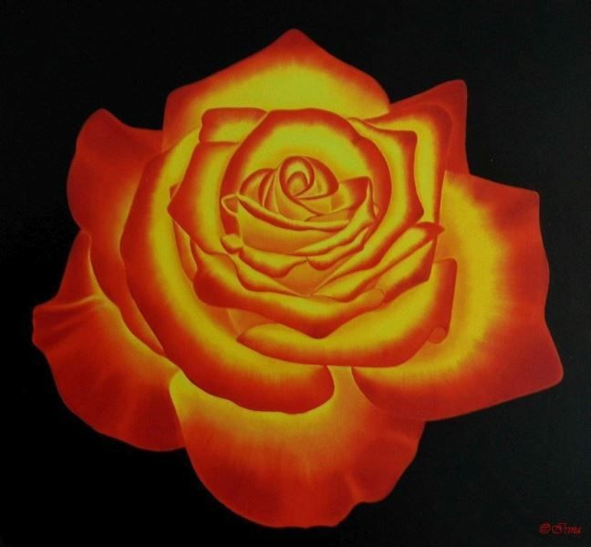 Irma Endrey: Red & yellow rose; oil on canvas