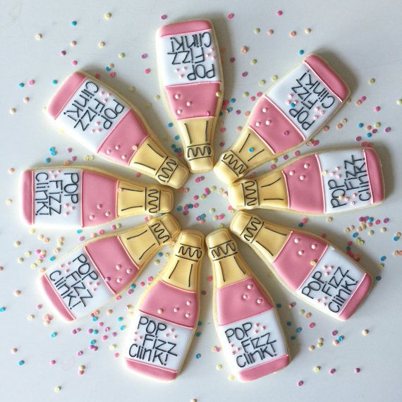 Pop! Clink! Fizz! These fun champagne cookies would make a great addition at your next party. 21st birthday, wedding, wedding shower, congratulations these cookies would be perfect served at any of these celebrations.  *Wording on cookies can be changed to what ever you would like.  Each cookie comes individually wrapped and heat sealed for freshness.  Made with the finest fresh ingredients, these delicious cookies are guaranteed to be as tasty as they are beautiful. Each cookies will be…