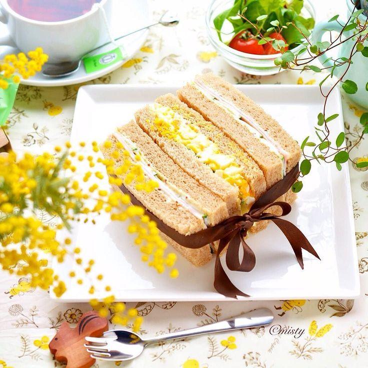 サンドイッチプレート  #morning #bread #sandwich #朝ごはん #サンドイッチ #手作りパン #おうち時間 #おうちパン #おうちカフェ by food_lab_
