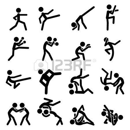 Ic ne Pictogramme Sport Set 03 Arts martiaux Banque d'images