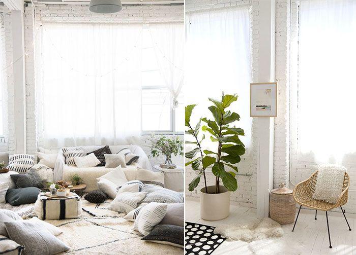 Mur en briques peint en blanc d coration style berb re for Style eclectique decoration