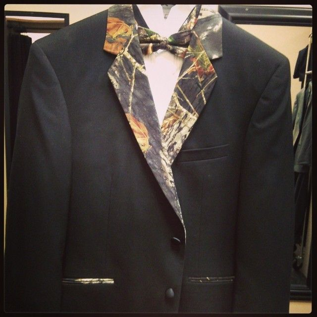 Looking to add a touch of camo to your wedding? We have camo tuxedos! #camowedding #camotuxedo #camogroom