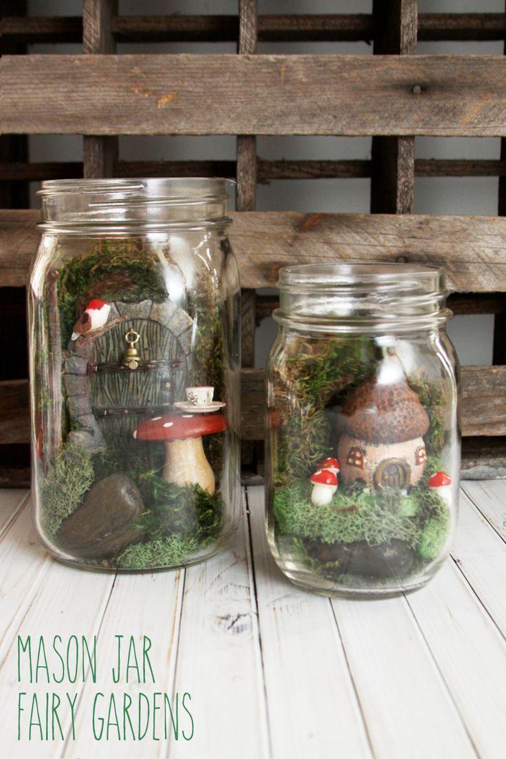 Simple and Sweet Mason Jar Fairy Gardens -