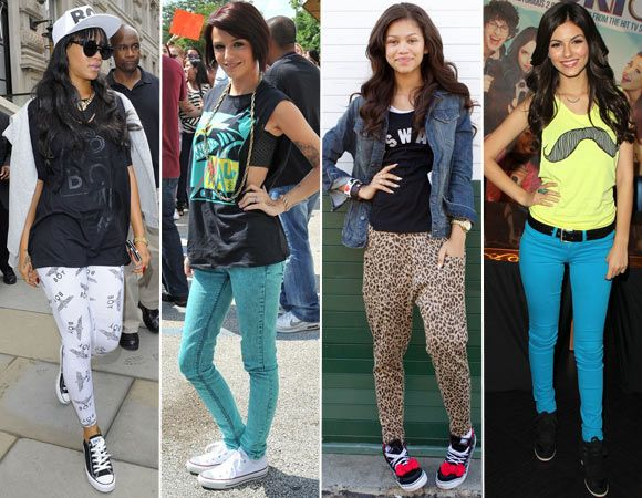 Looks street – Inspire-se na Rihanna, Cher Lloyd, Zendaya e Victoria Justice  Tênis são mesmo a melhor opção para o NoCAPRICHO! Combine o seu com leggings, jeans colorido, calças estampadas... Camisetas divertidas também ajudam a compor uma produção divertida e moderna!   Inspire-se nas famosas e arrase no estilo no NoCAPRICHO! - NOCAPRICHO 2012 - CAPRICHO
