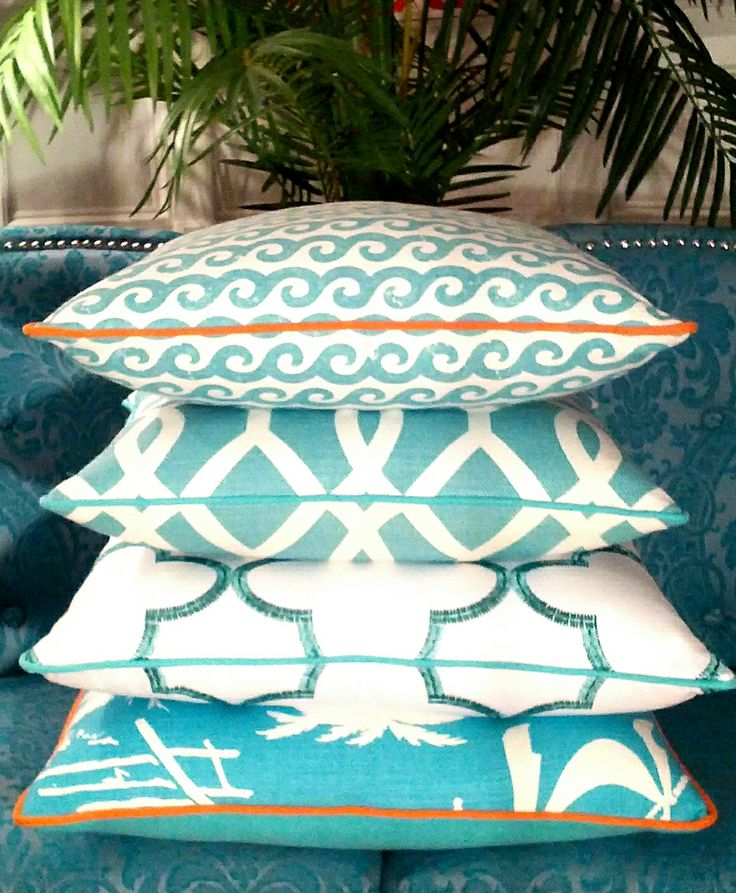 Turquoise and Orange- Palm Beach / Caribbean Waters -| Beach Pillows | Coastal Pillows