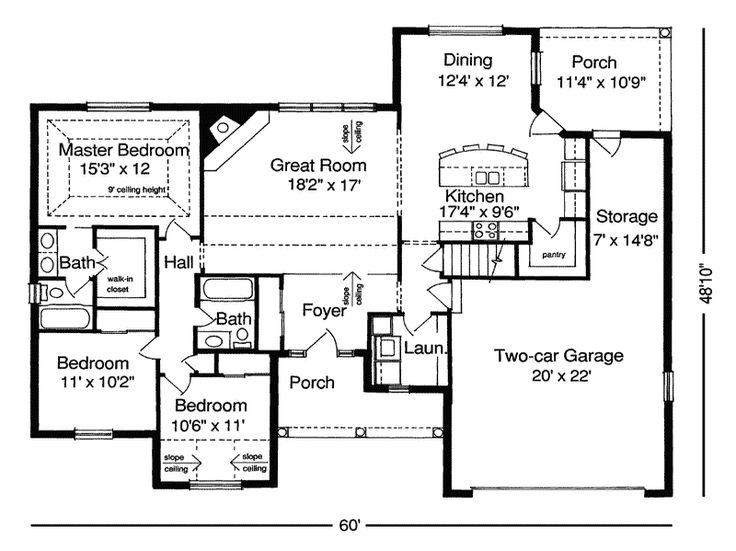 Ranch floor plans without dining room floor plans for for Ranch style house plans without garage