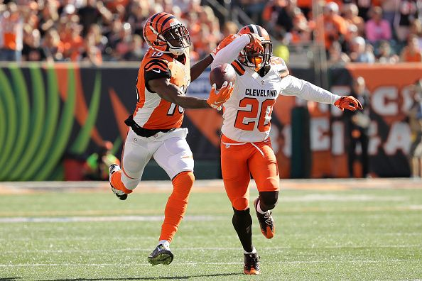 Browns vs. Bengals:     October 23, 2016  -  31-17, Bengals  -      A.J. Green #18 of the Cincinnati Bengals makes a one handed catch while being defended by Briean Boddy-Calhoun #20 of the Cleveland Browns during the third quarter at Paul Brown Stadium on October 23, 2016 in Cincinnati, Ohio. (Photo by Andy Lyons/Getty Images)