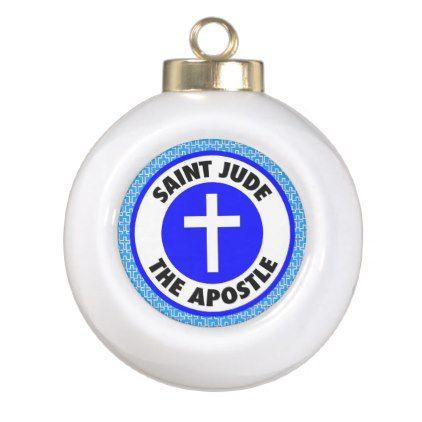 Saint Jude the Apostle Ceramic Ball Christmas Ornament - Xmas ChristmasEve Christmas Eve Christmas merry xmas family kids gifts holidays Santa