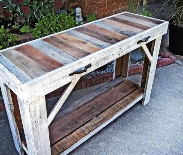 Handmade, trendy, sofa | entry table made from reclaimed pallets. Join the pallet  furniture trend.  eco-friendly pallet tables. reclaimed. rustic.