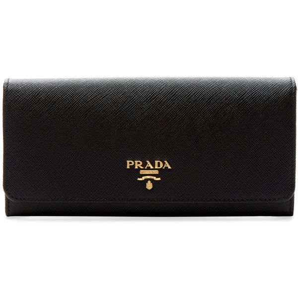 Prada Women's Saffiano Leather Long Wallet - Black ($559) ❤ liked on Polyvore featuring bags, wallets, black, long wallet, snap wallet, snap closure wallet, prada and saffiano leather bag